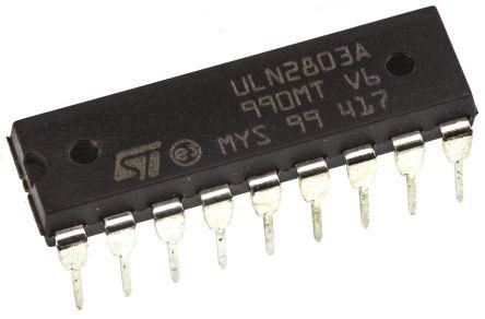STMicroelectronics ULN2803A Octal NPN Darlington Pair, 500 mA 50 V HFE:1000, 18-Pin PDIP