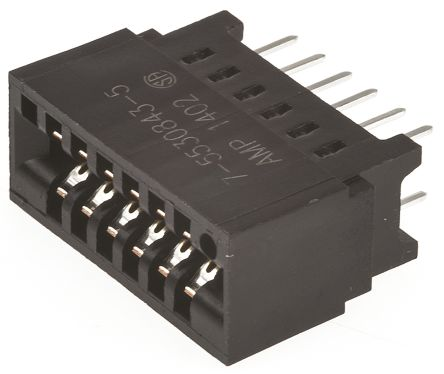 TE Connectivity Female PCB Edge Connector, Through Hole Mount, 12 Way, 2 Row, 2.54mm Pitch, 3A