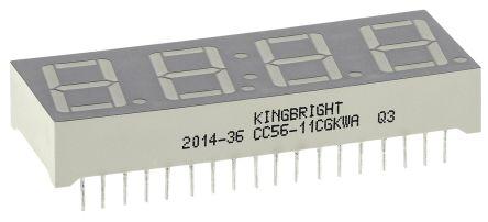 CC56-11CGKWA Kingbright 4 Digit 7-Segment LED Display, CC Green 12 mcd RH DP 14.2mm