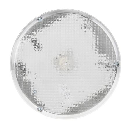 RS PRO, 28 W Round Fluorescent Bulkhead Light, Prismatic, 240 V ac, Polycarbonate, IP65, with Clear Diffuser