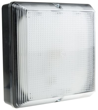 RS PRO, 28 W Square Fluorescent Bulkhead Light Wall Mount, Prismatic, 240 V ac, Polycarbonate, IP65, with Clear