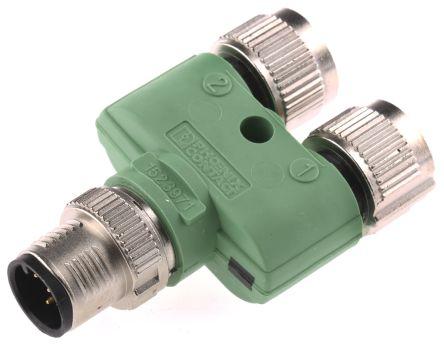5 Pole M12 Plug to 2 Pole M12 Socket Adapter, Nickel Plate, 50.1mm product photo