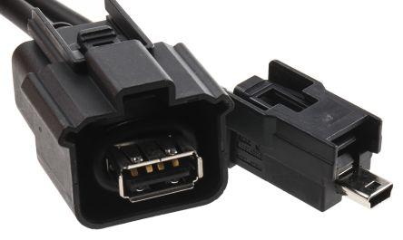 Molex USB 2 0 Female USB A to Male Mini USB B USB Cable, 0 5m