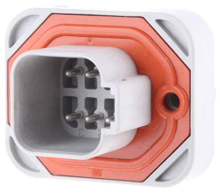 Deutsch DT15, 4.44mm Pitch, 6 Way, 2 Row, Straight PCB Header, Panel Mount, Through Hole