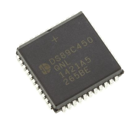 Maxim DS89C450-QNL+, 8bit 8051 Microcontroller, 33MHz, 64 kB Flash, 44-Pin PLCC