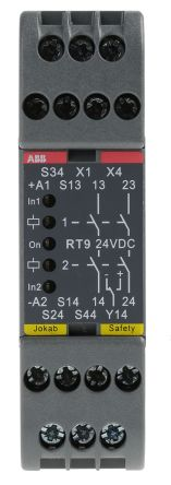 RT9 Safety Relay, Single or Dual Channel, 24 V dc, 2 Safety