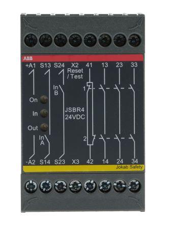 JSBR4 Safety Relay, Dual Channel, 24 V dc, 4 Safety