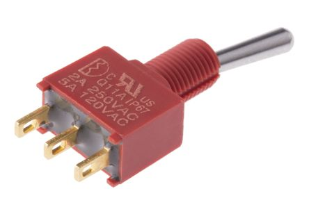 RS PRO Single Pole Double Throw (SPDT) Toggle Switch, Latching, IP67, PCB
