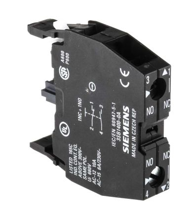 Front Mount Auxiliary Contact With Screw Terminal, NO/NC, 10 A, 220 V dc, 400 V ac product photo