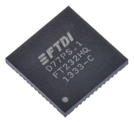 FTDI Chip, QFN USB to Serial UART RS232, RS422, RS485 UART 12Mbit/s, 1.8 V, 3.3 V, 48-Pin FT232HQ-REEL