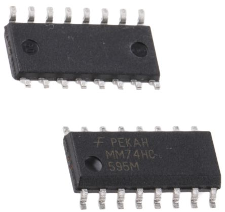 ON Semiconductor MM74HC595MX 8-stage Shift Register, Serial/Parallel, , Uni-Directional, 16-Pin SOIC