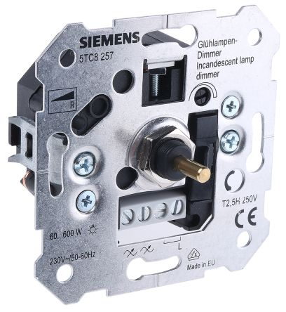 5tc8257 siemens 2 way 1 gang rotary dimmer switch 600w 230 v ac 740 8085 rs malta online. Black Bedroom Furniture Sets. Home Design Ideas