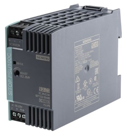 Siemens, SITOP PSU100C DIN Rail Panel Mount Power Supply, 24V dc Output  Voltage, 2 5A output current | Siemens | RS Components India