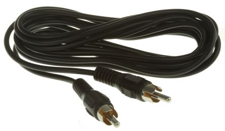 RS PRO 3m RCA Cable Male RCA to Male RCA Black