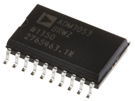 Analog Devices ADM3053BRWZ-REEL7, CAN Transceiver 1MBps 1-channel ISO 11898, 20-Pin SOIC