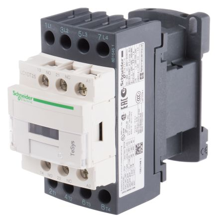Non-Reversing Contactor, 240VAC, 25A, 4-P, DIN Rail, TeSys D Series