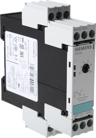 Siemens OFF Delay Single Timer Relay, , 0.5 → 10 s, SPDT, 1 Contacts, on