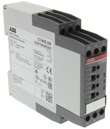Multi Function Timer Relay, Screw, 0.05 s → 300 h, DPDT, 2 Contacts, SPDT