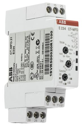 ABB Multi Function Timer Relay, Screw, 0 05 s → 100 h, DPDT, 2 Contacts,  DPDT, SPDT, 12 → 24 V ac/dc