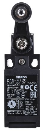 Omron Automation D4N-4120 D4N-4120 Safety Limit Switch w// Roller Lever Actuator