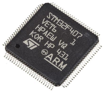 STMicroelectronics STM32F407VET6, 32bit ARM Cortex M4F Microcontroller,  168MHz, 512 kB Flash, 100-Pin LQFP