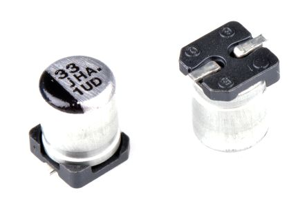 Panasonic 33μF 6 3V dc Aluminium Electrolytic Capacitor, Surface Mount 4  (Dia ) x 5 4mm +105°C 4mm 1mm