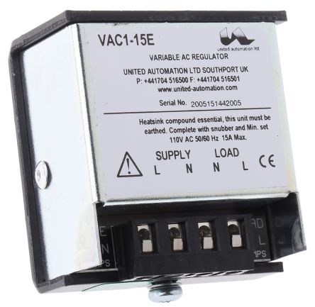 Fan Speed Controller, Infinitely Variable, 110 V ac, 15A