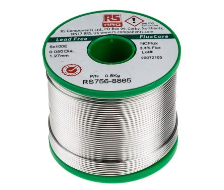 RS Pro 1.27mm Wire Lead Free Solder, +228°C Melting Point, 0.5% Copper, 99.5% Tin, 500g