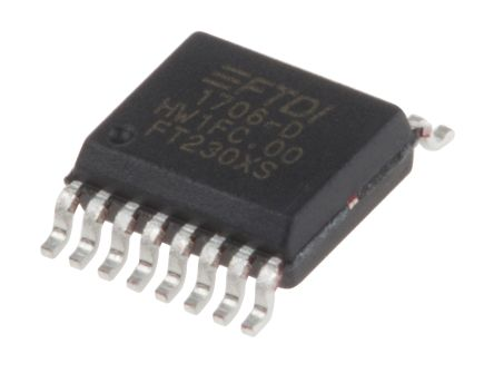 FTDI Chip, SSOP UART Interface RS232, RS422, RS485, SIE, UART 3MBd, 5 V, 16-Pin FT230XS-R