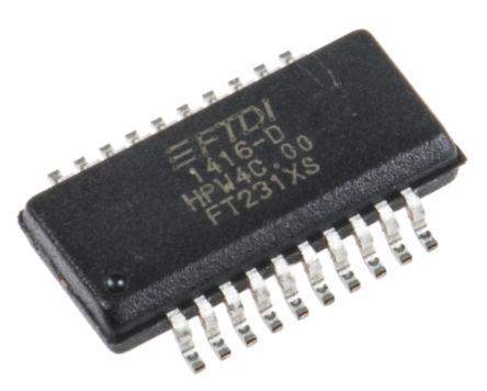 FTDI Chip, SSOP Interface RS232, RS422, RS485, SIE, UART 3MBd, 5 V, 20-Pin FT231XS-R
