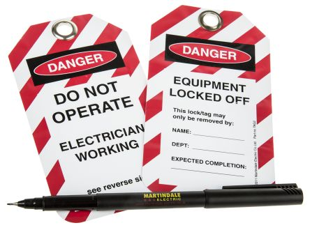10 x 'Do Not Operate, Electrician Working, Equipment Locked Off' Lockout Tag product photo