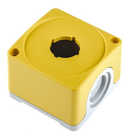 ABB Compact Push Button Enclosure, 1 Hole Yellow, 22mm diameter Plastic