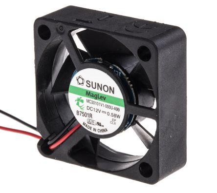 Sunon MC Series Axial Fan, 30 x 30 x 10mm, 9.35m³/h, 580mW, 12 V dc