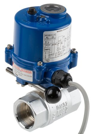 RS PRO Brass Ball Valve with Electric Actuator, 1-1/4 in BSP