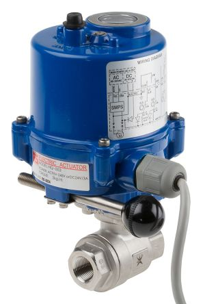 RS Ball Brass Ball Valve with Electric Actuator, 3/8 in BSP
