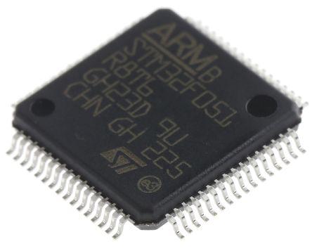 STMicroelectronics STM32F051R8T6, 32bit ARM Cortex M0 Microcontroller, STM32F, 48MHz, 64 kB Flash, 64-Pin LQFP