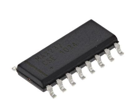 Maxim MAX232CSE+T, Cable Transceiver, 2 (RS232)-TRX 120kbps, 16-Pin SOIC
