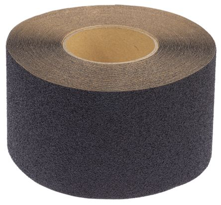 RS PRO Black 18.3m Hazard Tape, 102mm x