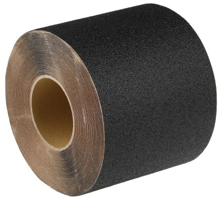 RS PRO Black 18.3m Hazard Tape, 152mm x