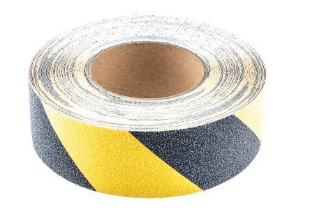 RS PRO Black/Yellow Anti-Slip Tape - 18.3m x 50mm