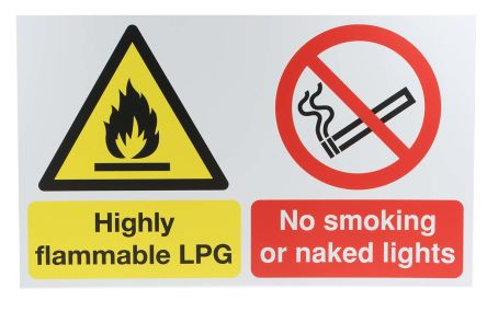 1 x Fire Safety Sign (English), Black/Red/White/Yellow PP product photo