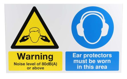 1 x Ear Protection Sign (English), Black/Blue/White/Yellow PP product photo