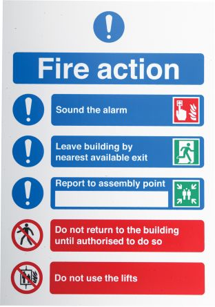 RS PRO PP Fire Safety Sign, Fire Exit Down Left Sign With English Text, 210 x 148mm