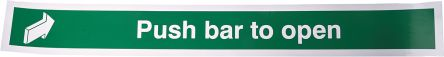RS PRO Tactile Sign: Access Push Bar to Open. English Text, Self-Adhesive Vinyl, 600 x 75mm