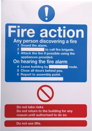 RS PRO Vinyl Fire Safety Sign, Fire Safety Sign With English Text Self-Adhesive, 148 x 210mm