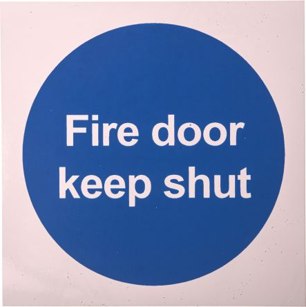 RS PRO Vinyl Fire Safety Sign, Fire Safety Sign With English Text Self-Adhesive, 100 x 100mm