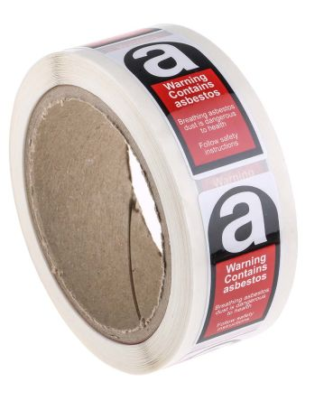 250Per Roll x Warning Label (English), Black/Red/White Self-Adhesive Vinyl product photo