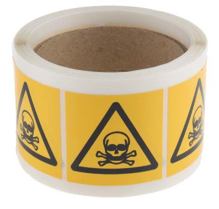 250Per Roll x Toxic Label, Black/Yellow Self-Adhesive Vinyl product photo