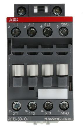 AF Range AF16 3 Pole Contactor, 3NO (Main), NO (Auxiliary), 30 A, 7.5 kW, 20 → 60 V dc, 24 → 60 V ac Coil