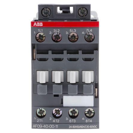 AF Range AF09 4 Pole Contactor, 4NO (Main), 25 A, 20 → 60 V dc, 24 → 60 V ac Coil, Screw Terminal